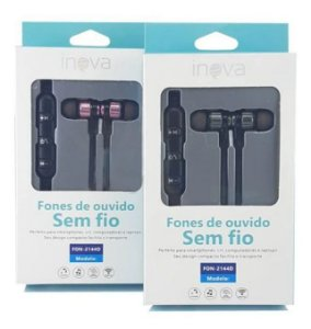 Fone De Ouvido Com Microfone Sem Fio Inova FON-2144D (Cinza Com Preto)