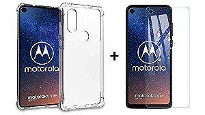 Capa Anti impacto Para Motorola One Vision 6.3 Polegadas + Película De Vidro Temperado