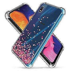 Capa Anti Impacto Chuva de Corações Para Samsung Galaxy M10/A10 Full Cover