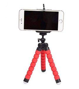Mini Tripé  Flexível para Celular e Câmera Cor Vermelho Octopus