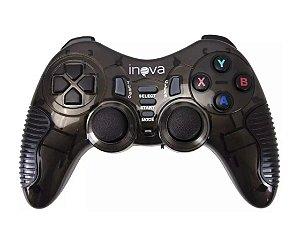 Controle Joystick Sem Fio Para Ps1, Ps2, Ps3, PC e Tv Inova Con-7195 (Cor Preto)
