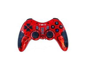 Controle Joystick Sem Fio Para Ps1, Ps2, Ps3, PC e Tv Inova Con-7195 (Cor Vermelho)