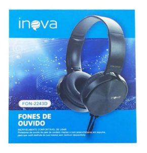 Fone de Ouvido Headphone com Fio Estéreo Inova FON-2243D (Cor Preto)