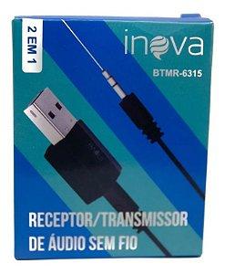 Receptor E Transmissor De Áudio Sem Fio Bluetooth Inova BTMR-6315 (Cor Preto)