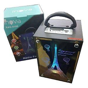 Caixa De Som Bluetooth Torre Eiffel Usb Portátil Inova Rad-8100 + Brinde surpresa