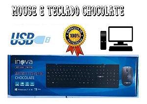 Kit Mouse E Teclado Com Fio USB Inova Modelo Chocolate (Cor Preto)