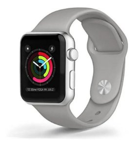 Pulseira Esportiva Caixa 38mm Apple Watch Series 1 2 3 Sport Silicone (Cinza)