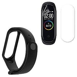 Kit Pulseira Silicone Flexível Preta Xiaomi Mi Band 4 + Película Protetora Grátis