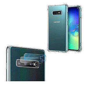 Capa Antishock Transparente + Película de Gel para Câmera Samsung Galaxy S10 Plus