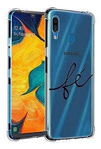 Capa Anti Shock Transparente Escrito Fé Para Samsung Galaxy M30 2019