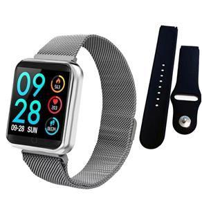Kit Completo Smartwatch P70 PRO Batimentos com 3 Pulseiras + Película protetora (RELÓGIO PRATA)