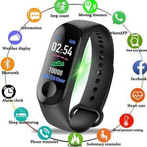 Relógio Inteligente Smartband M3 Bluetooth + Película + 1 Pulseira extra/reposição