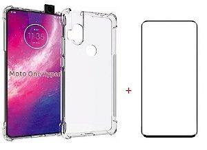 Kit capa anti shock + Película de vidro 3D Motorola One Hyper bordas pretas