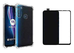 Kit capa anti shock + Película de vidro 3D Motorola One Fusion Plus bordas pretas