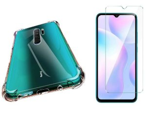 Kit capa anti shock + Película de vidro Temperado Xiaomi Redmi 9