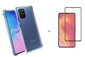 Kit Capa Anti Shock + Película de Vidro 3D Samsung Galaxy S10 Lite 2020 Bordas Pretas
