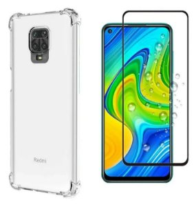 KIT CAPA ANTI SHOCK + PELÍCULA DE VIDRO 3D XIAOMI REDMI NOTE 9 BORDAS PRETAS