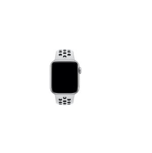 Pulseira Apple Watch de Silicone Esportiva Branca com Preto 42/44 MM