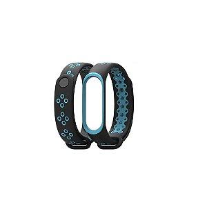 Pulseira Extra para Mi band 3 ou 4 Preta com Azul Claro - Estilo Nike
