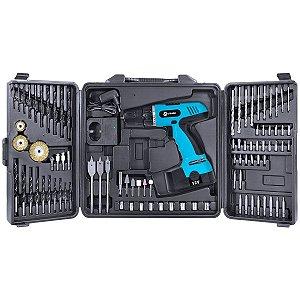 Furadeira e Parafusadeira 550 RPM Kit com 87 Peças e Bateria 12V FP-550
