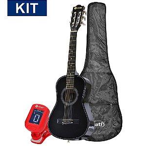 """Kit Promocional Violão Vinik Nylon Acústico Clássico Infantil 1/2 Preto Júnior VCL30AC + Capa para Violão 39"""" + Afinador"""