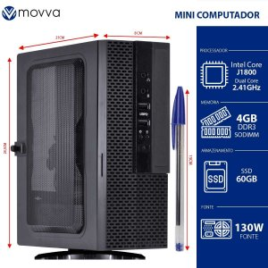 Mini Computador Lite Intel Dual Core J1800 2.41Ghz Memória 4GB SSD 60GB HDMI/VGA Fonte 130W