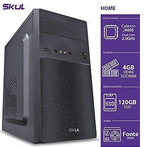 Computador Home H100 - Celeron Dual Core J4005 2.00GHZ 4GB DDR4 SODIMM SSD 120GB HDMI/VGA Fonte 200W - HJ40051204