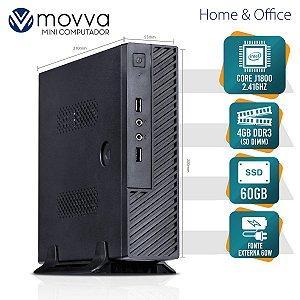 Mini Computador Dual Core J1800 2.41GHZ 4GB DDR3 SODIMM SSD 60GB 2X Serial HDMI/VGA Fonte Ext. 60W - MVACJ1800604S