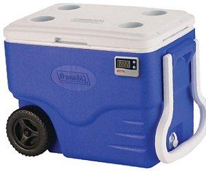 Caixa Térmica 38 Litros com Rodas PU Termômetro Max Min