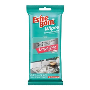 Pano Umedecido Wipes Limpa Inox Pack C/ 20 panos