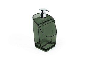 Dispenser C/ Suporte para Esponja Preto Translúcido