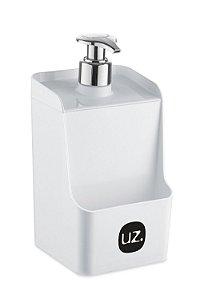 Dispenser Slim C/ Suporte para Esponja Branco Sólido