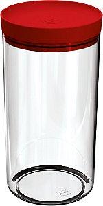 Porta Mantimento 1,9 Litros Transparente C/ Tampa Vermelha