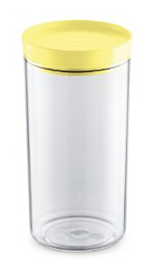 Porta Mantimento 1,9 Litros Transparente C/ Tampa Amarelo Claro