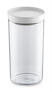 Porta Mantimento 1,9 Litros Transparente C/ Tampa Branco