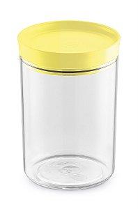 Porta Mantimento 1,4 Litros Transparente C/ Tampa Amarelo Claro