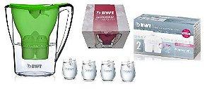 Combo Especial BWT - 01 Jarra Purificadora de Água BWT 2,7 LTS c/ Adição de Magnésio Verde + Jogo de Copos + 02 Filtros