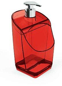 Dispenser C/ Suporte para Esponja Vermelho Translúcido