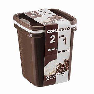 CONJUNTO C/ 2 POTES 1.900 ML (CAFÉ E AÇUCAR) - PLÁSTICO SANTANA