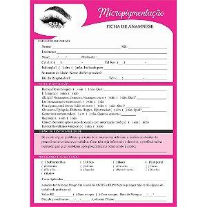 Bloco Ficha De Anamnese Micropigmentação