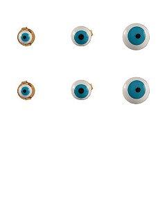 Kit 3 pares de brincos folheados olho grego isis
