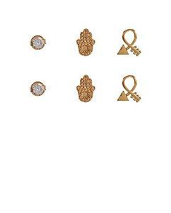 Kit 3 pares de brincos folheados dourados hika