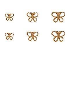 Kit 3 pares de brincos folheados dourados butterfly