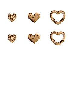 Kit 3 pares de brincos folheados dourados keki