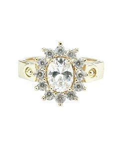 Anel de metal dourado com pedra cristal Besalú - 18