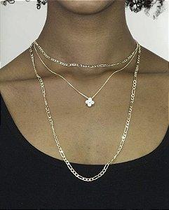 Colar de metal dourado com strass cristal Davilla