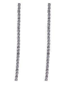 Maxi brinco de metal prateado com pedra cristal Diana