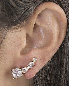 Ear cuff de metal dourado com pedra cristal Narella