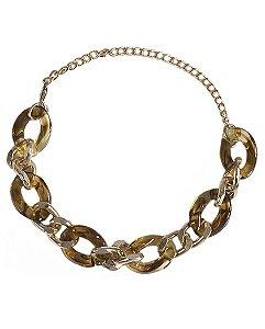 Pulseira de metal dourado com acrílico caramelo Izabella