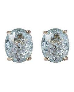 Brinco pequeno de metal dourado com pedra fusion azul viviane